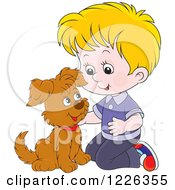 Clipart Of A Caucasian Boy Kneeling And Petting A Puppy Royalty Free Vector Illustration by Alex Bannykh
