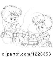 Clipart Of Outlined Boys Playing With Blocks Royalty Free Vector Illustration