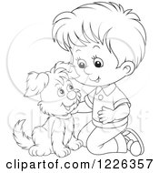Clipart Of An Outlined Boy Kneeling And Petting A Puppy Royalty Free Vector Illustration