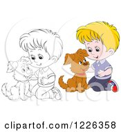 Clipart Of An Outlined And Colored Boy Kneeling And Petting A Puppy Royalty Free Vector Illustration