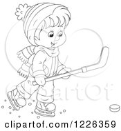Clipart Of An Outlined Boy Playing Ice Hockey Royalty Free Vector Illustration