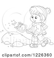 Clipart Of An Outlined Happy Boy Shoveling Snow Royalty Free Vector Illustration