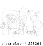 Clipart Of An Outlined Puppy Watching Children Make A Snow Castle Royalty Free Vector Illustration by Alex Bannykh