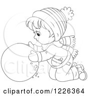 Clipart Of An Outlined Boy Rolling A Ball Of Snow Royalty Free Vector Illustration
