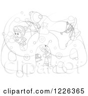 Clipart Of Outlined Children Making A Castle In The Snow Royalty Free Vector Illustration by Alex Bannykh