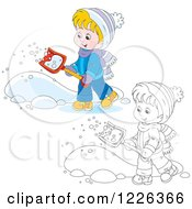 Clipart Of An Outlined And Colored Happy Boy Shoveling Snow Royalty Free Vector Illustration by Alex Bannykh
