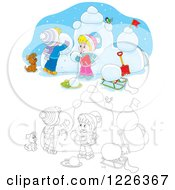 Clipart Of An Outlined And Colored Puppy Watching Children Make A Snow Castle Royalty Free Vector Illustration by Alex Bannykh
