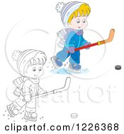 Clipart Of An Outlined And Colored Boy Playing Ice Hockey Royalty Free Vector Illustration by Alex Bannykh