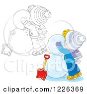 Clipart Of An Outlined And Colored Boy Making A Snowman Royalty Free Vector Illustration