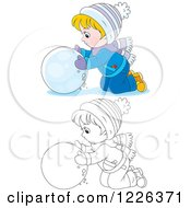 Clipart Of An Outlined And Colored Boy Rolling A Ball Of Snow Royalty Free Vector Illustration