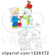 Clipart Of An Outlined And Colored Boy By A Snowman Royalty Free Vector Illustration