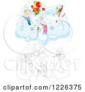 Clipart Of Outlined And Colored Children Making A Castle In The Snow Royalty Free Vector Illustration by Alex Bannykh