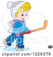 Clipart Of A Caucasian Boy Playing Ice Hockey Royalty Free Vector Illustration