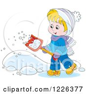 Clipart Of A Happy Boy Shoveling Snow Royalty Free Vector Illustration by Alex Bannykh