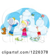 Clipart Of A Puppy Watching Caucasian Children Make A Snow Castle Royalty Free Vector Illustration by Alex Bannykh