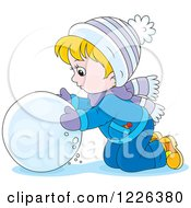 Clipart Of A Caucasian Boy Rolling A Ball Of Snow Royalty Free Vector Illustration by Alex Bannykh