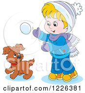 Clipart Of A Caucasian Boy And Puppy Playing In The Snow Royalty Free Vector Illustration by Alex Bannykh