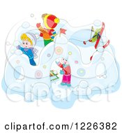 Clipart Of Caucasian Children Making A Castle In The Snow Royalty Free Vector Illustration by Alex Bannykh