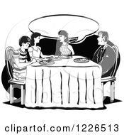 Clipart Of A Retro Family Talking At The Dinner Table In Black And White Royalty Free Vector Illustration by Andy Nortnik