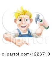 Poster, Art Print Of Happy Blond Carpenter Man Holding A Hammer And Pointing Down At A Sign