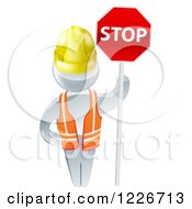 3d Silver Road Construction Worker Man Holding A Stop Sign