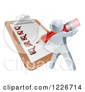 Clipart Of A 3d Silver Man Filling Out A List Form On A Clip Board Royalty Free Vector Illustration by AtStockIllustration