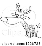 Clipart Of A Cartoon Black And White Unhappy Reindeer In An Ugly Christmas Sweater Royalty Free Vector Illustration by toonaday