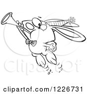 Clipart Of A Cartoon Black And White New Year Party Rabbit Blowing A Horn Royalty Free Vector Illustration