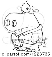 Clipart Of A Cartoon Black And White Christmas Hippo In A Bow And A Bauble Royalty Free Vector Illustration by toonaday