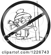 Clipart Of A Cartoon Black And White Boy With His Tongue Stuck Frozen To A Pole With A Prohibited Symbol Royalty Free Vector Illustration