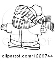 Clipart Of A Cartoon Black And White Boy Bundled In Winter Apparel Royalty Free Vector Illustration
