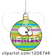 Clipart Of A Cartoon Striped Goofy Christmas Bauble Royalty Free Vector Illustration