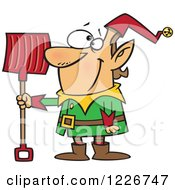 Clipart Of A Cartoon Christmas Elf With A Snow Shovel Royalty Free Vector Illustration