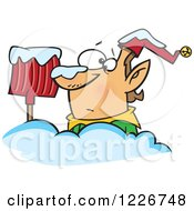 Clipart Of A Cartoon Christmas Elf Buried In Snow By A Shovel Royalty Free Vector Illustration