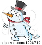 Clipart Of A Cartoon Happy Christmas Snowman Walking Royalty Free Vector Illustration by Ron Leishman