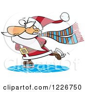 Clipart Of A Cartoon Santa Claus Ice Skating Royalty Free Vector Illustration by toonaday