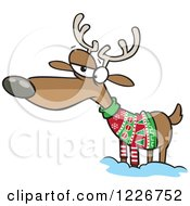 Clipart Of A Cartoon Unhappy Reindeer In An Ugly Christmas Sweater Royalty Free Vector Illustration