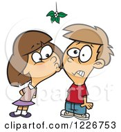 Clipart Of A Cartoon Girl Kissing A Boy Under Mistletoe Royalty Free Vector Illustration