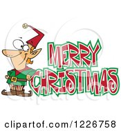 Clipart Of A Cartoon Merry Christmas Greeting And Happy Elf Royalty Free Vector Illustration
