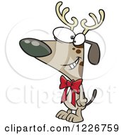 Clipart Of A Cartoon Christmas Dog Wearing Antlers And A Bow Royalty Free Vector Illustration