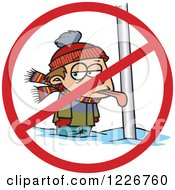 Clipart Of A Cartoon Boy With His Tongue Stuck Frozen To A Pole With A Prohibited Symbol Royalty Free Vector Illustration by Ron Leishman