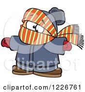 Cartoon Boy Bundled In Winter Apparel