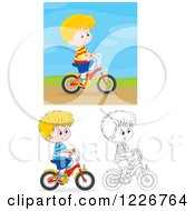 Clipart Of An Outlined And Colored Happy Boy Riding A Bike Royalty Free Vector Illustration