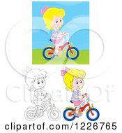 Clipart Of Outlined And Colored Happy Girl Riding A Bike Royalty Free Vector Illustration