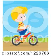 Clipart Of A Happy Blond Boy Riding A Bicycle Royalty Free Vector Illustration