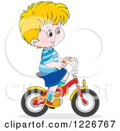 Clipart Of A Happy Blond Boy Riding A Bike Royalty Free Vector Illustration