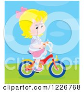 Clipart Of A Happy Blond Girl Riding A Bicycle Royalty Free Vector Illustration