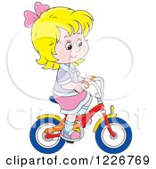 Clipart Of A Happy Blond Girl Riding A Bike Royalty Free Vector Illustration