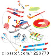 Clipart Of Airbrushed Recreational Winter Snow Gear Royalty Free Vector Illustration by Alex Bannykh