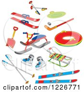 Clipart Of Recreational Winter Snow Gear Royalty Free Vector Illustration